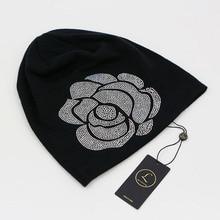 2016 Soft Black Beanies For Women Cotton Slouchy Diamond Beanie Hats For Women Floral Rose Long Beanies Autumn Winter Women Hat