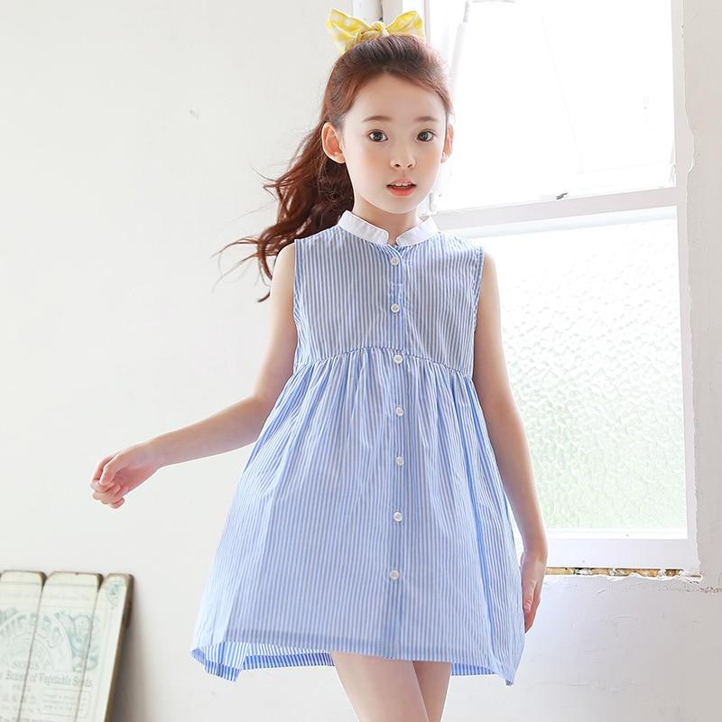 b711528adc7 Новая Корейская версия Детское платье летнее платье без рукавов в  Вертикальную Полоску светло голубой модное платье для девочек для детей  Baby doll платье ...