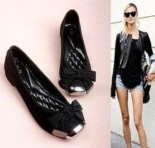 Elegante Bowtie Kleid Schuhe Kuh Leder Wohnungen Frauen Bootsschuhe Niedrigen Ferse Marke Loafer Schuhe Frauen Formal Designer Schuhe