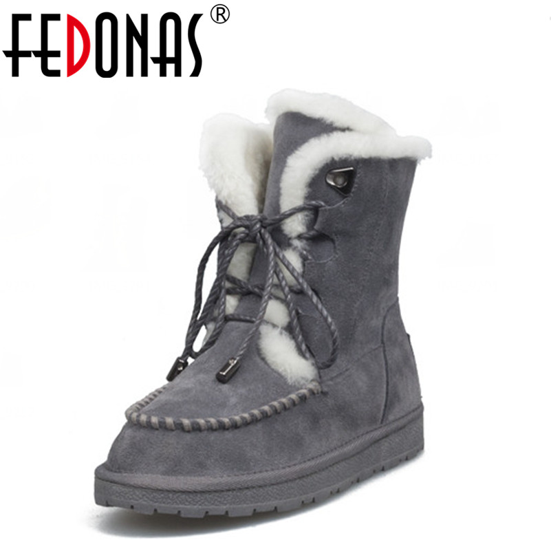 FEDONAS Women Warm Winter Snow Boots Genuine Leather Fur Lace-up Platforms Ankle Boots Brown Gray Black Martin Shoes Big Size fedonas russia women boots keep warm snow boots platforms winter mid calf boots fashion solid color high shoes woman white black