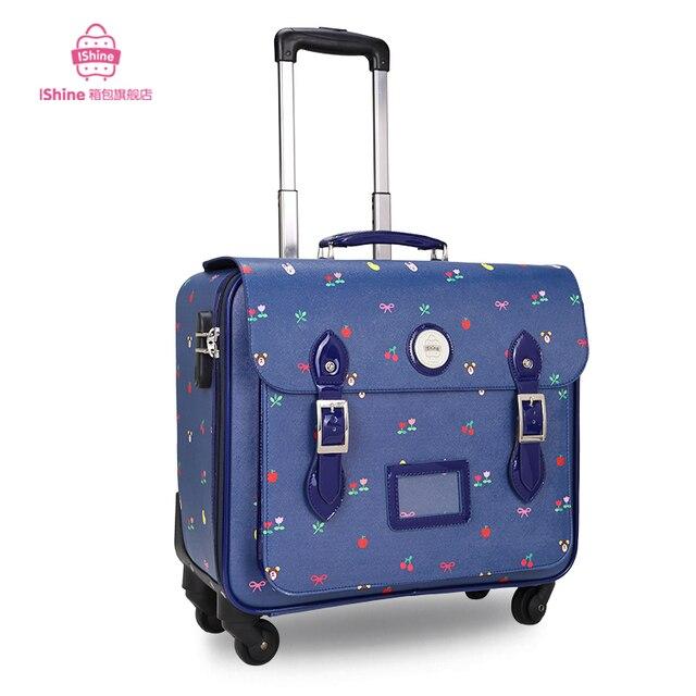 Старинные дорожная сумка тележка багажа PU коробка тяги износостойких маленький багаж женщины сплетни окно для ввода пароля