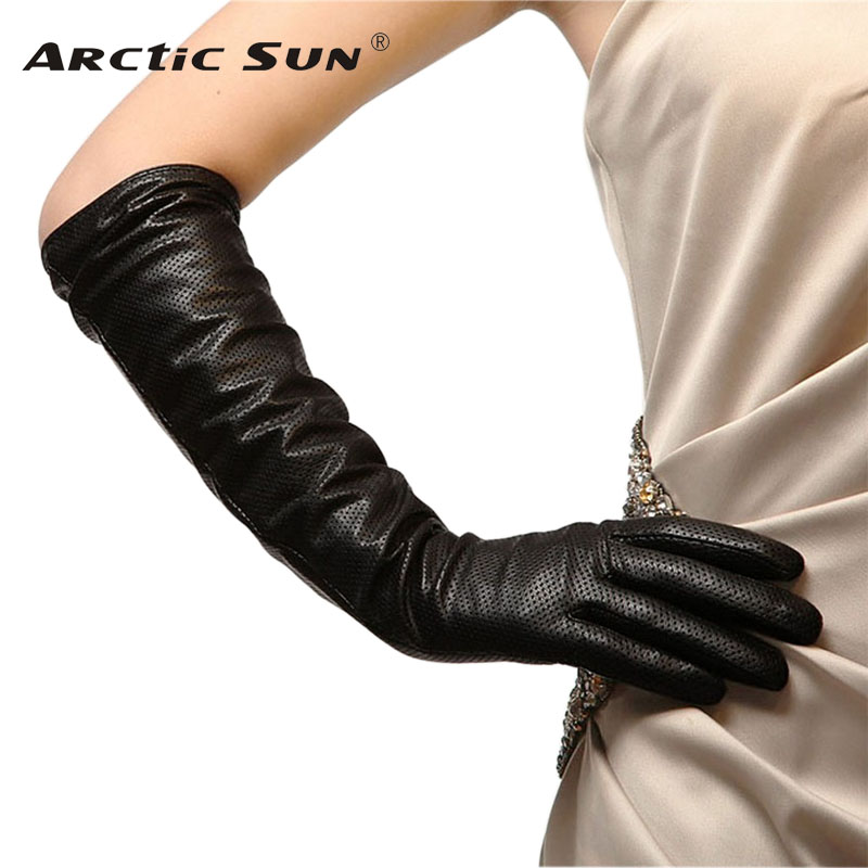 Mode noir femmes gants en peau de mouton 45 cm de Long en cuir véritable cinq doigt manteau élégant hiver dame conduite gant L081NN