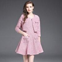 2017 Nuevo Otoño de Las Mujeres de Oficina Mini Vestido Trajes de Moda Elegante rosa de Tres Cuartos Vestidos Cortos y Chaqueta para Las Mujeres señoras