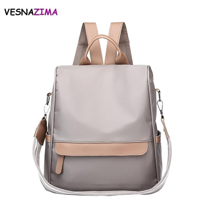 Vesnazima Women Backpack School Style Leather Bag For College Simple Design Women Casual Nylon Daypacks mochila Feminine WM682Z casual style print and canvas design satchel for women