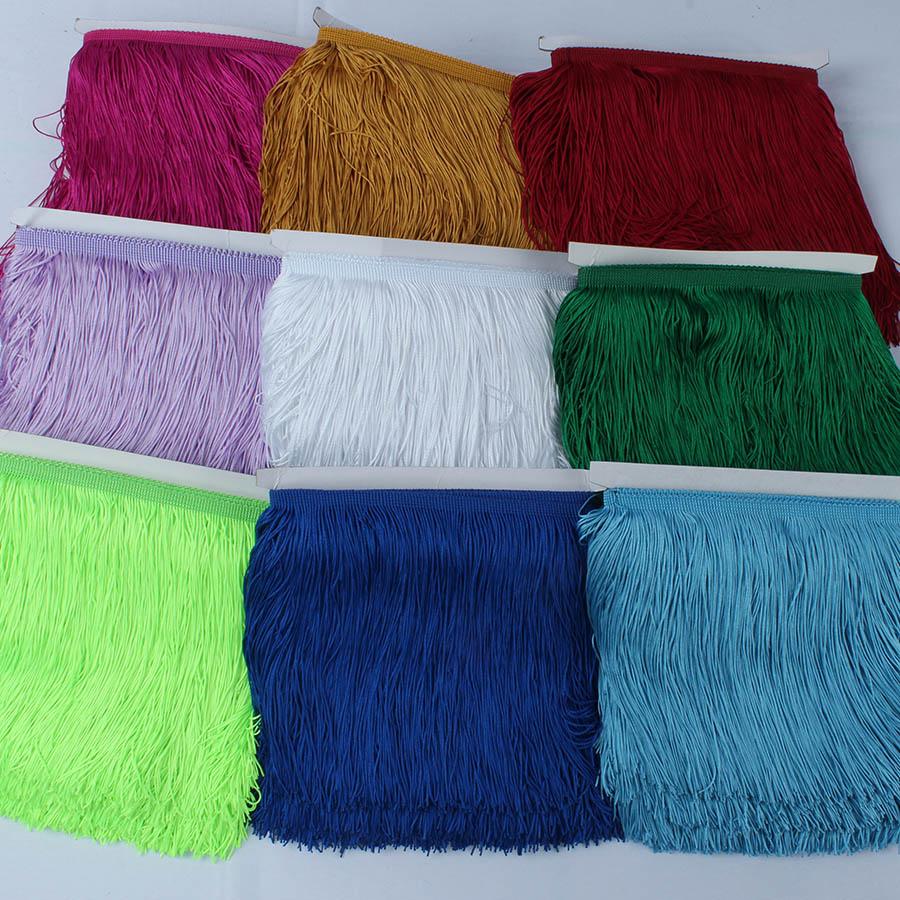 10 Yards/lot Lace Fringe Tassel Polyester Lace Trim Ribbon DIY Curtain Latin Dress Stage Garment 15cm/20cm/30cm Wide