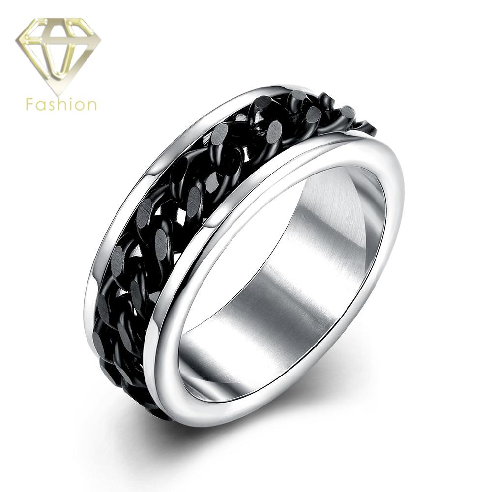 Gay Engagement Rings Unique Cool 316l Stainless Steel Ring With Black Color  Rotating Chain In The Center Jewellery Wholesale