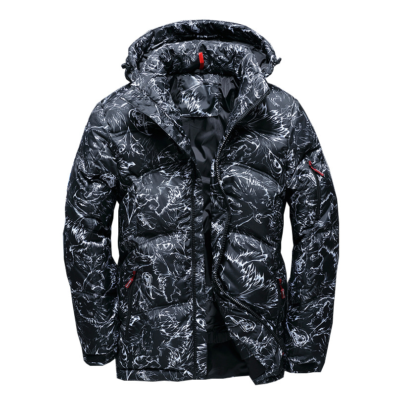 Men short   down   jacket Male Winter   Down     Coat   Outdoor Floral casual clothing thicken solid Hooded Outerwear 2019 Autumn New