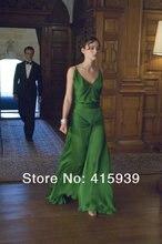 Fashion Spaghetti Celebrity Kleider Dunkelgrün Sexy V-ausschnitt Sleeveless Bodenlangen Abendkleider YY137