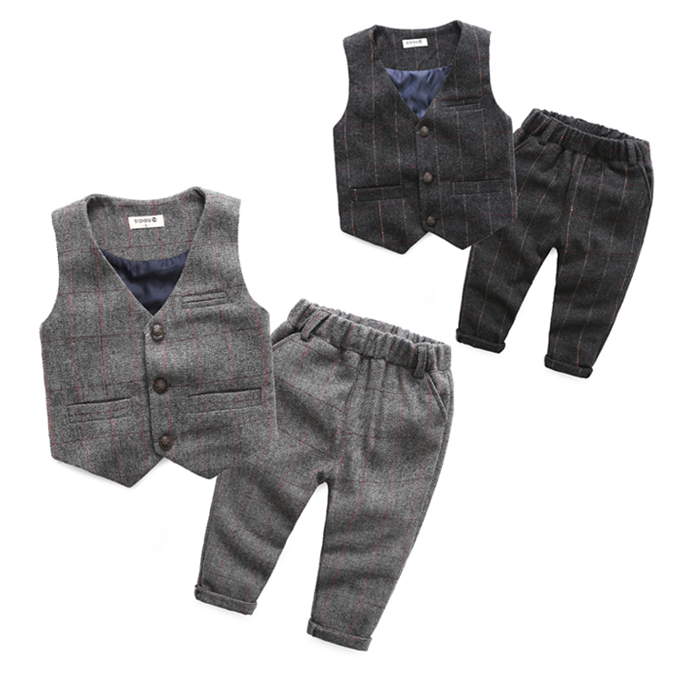 ФОТО Male child autumn vest set 2016 baby clothing casual plaid western-style trousers children woolen twinset