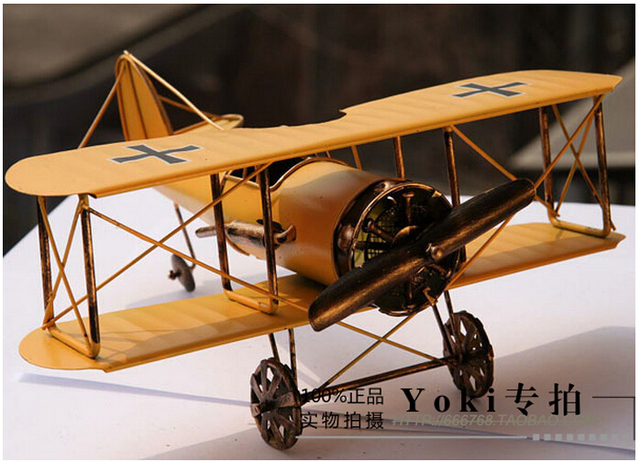 30cm Creative Metal Crafts Hand Made Airplane Home Decoration Items Vintage Decorative Modern