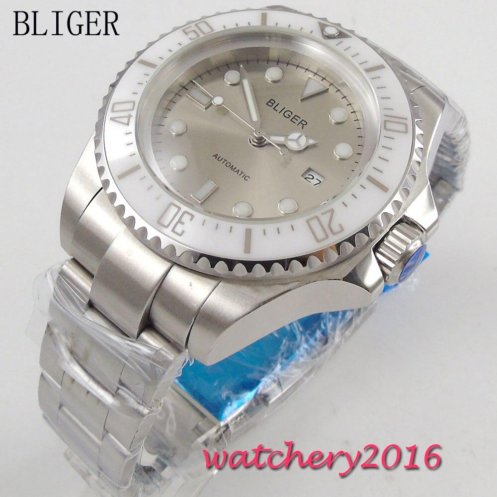 44mm Bliger Gray Dial Ceramic bezel Luminous Hands Crystal Date Window Automatic Movement Men's Mechanical Wristwatches 44mm bliger gray dial blue ceramic bezel sapphire crystal automatic movement men s mechanical wristwatches