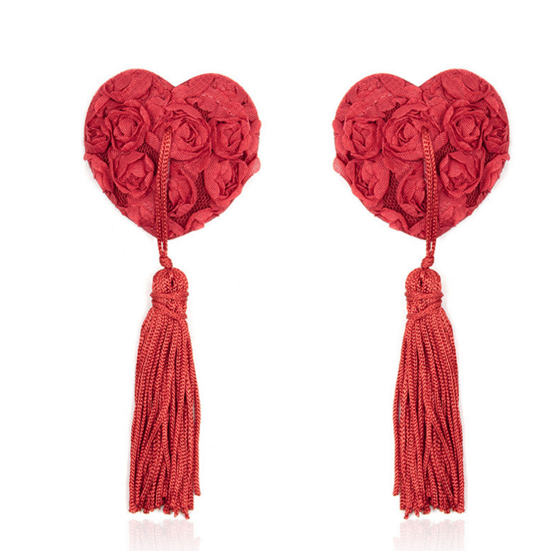 Hot 2pcs/set Self Adhesive Sequin Tassel Cover Fur Red Ribbon Rose Heart Shape Bra Nipple chest sticker Pasties Breast Petals
