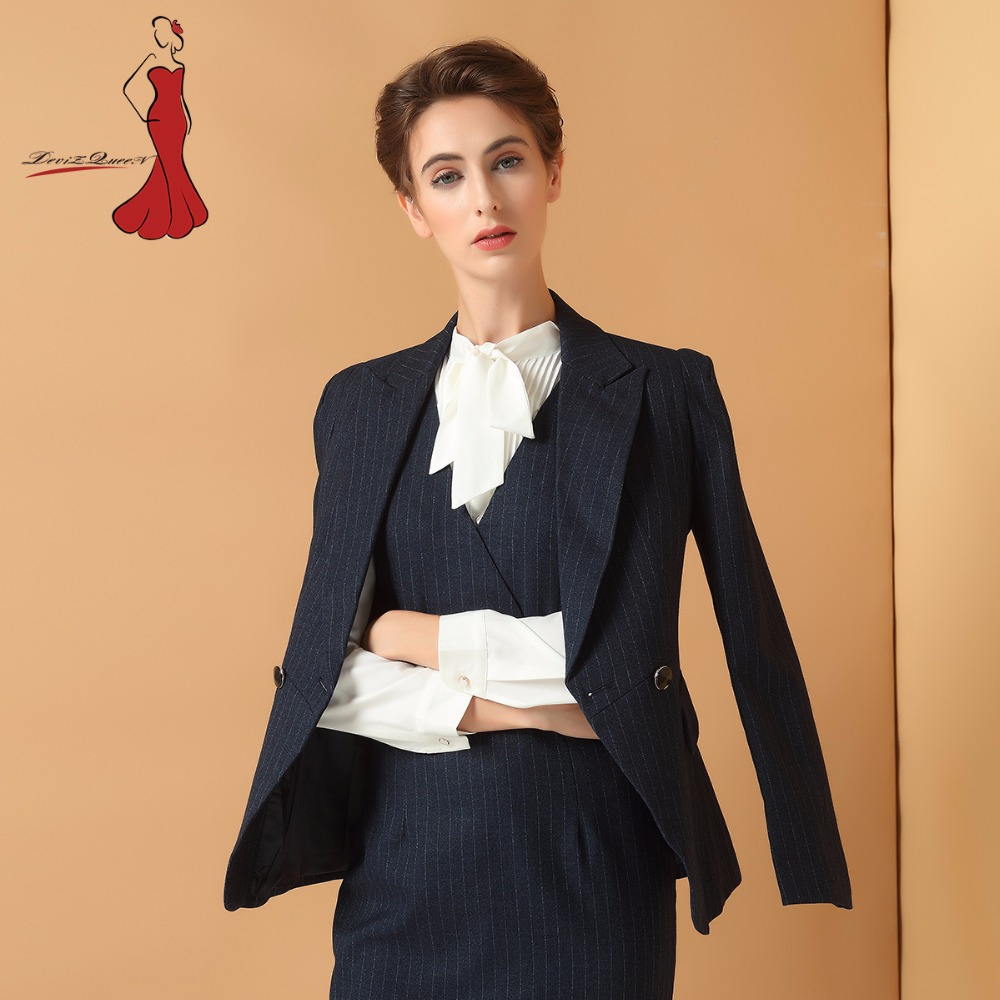 Deviz reina profesional de negocios se oras rayas blazer ropa de las mujeres de oficina de negocios