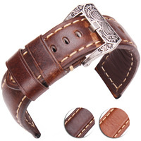 22mm 24mm Watchbands Handmade Vintage Men Women Soft Genuine Leather Watch Strap With Silver Stainless Steel