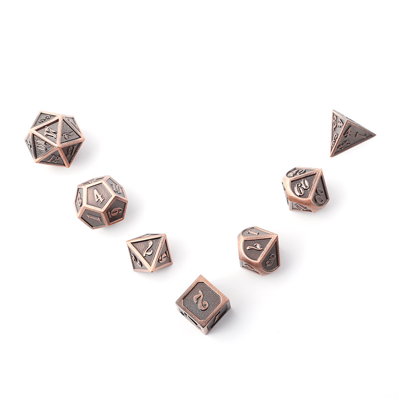 New Font Dragon and Dungeon 7 Pieces Creative D20 10 6 8 12 Role Playing Dice D D Metal Dice Set Brown Digitale Dobbel in Dice from Sports Entertainment