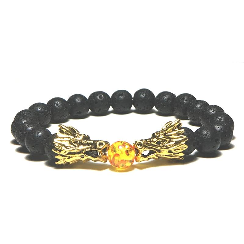 Punk Vintage Dragon Male Bracelets Natural Lava/Turquoises/Tiger eye Braslet For Men Accessories Camping Jewelry Erkek Bileklik