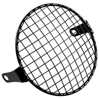 MAYITR 7 Inch Retro Metal Motorcycle Front Headlight Lamp Mesh Grille Cover Mask Square Grid For