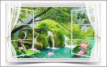 Home Improvement - Painting Supplies  - 3D Wall Murals Wallpaper Custom Photo Wallpaper Mural 3D Outdoors Landscape Flowers Mural Pond Landscape Background Wall Murals
