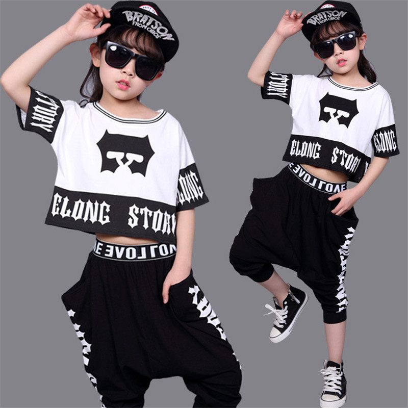 Girls Clothing Sets Summer 2017 Girls Short Sleeve T-shirt Top & Harem Pants 2 Pcs for Kids Girls Hip Hop Costume Jazz Dance Set girls in pants third summer
