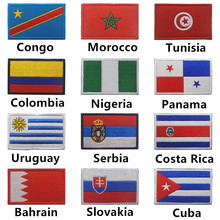 1PC Cuba Slovakia Colombia Serbia Uruguay Nigeria Costa Rica Embroidered Badge Flag Patches for Clothes Backpack Sew On Patch(China)