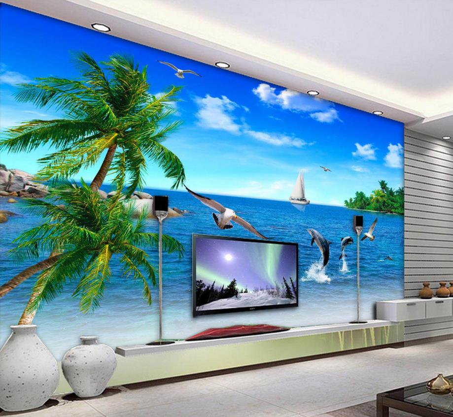 Custom 3d stereoscopic seaview palm seagull wallpaper living room wallpaper tv backdrop vinyl roll