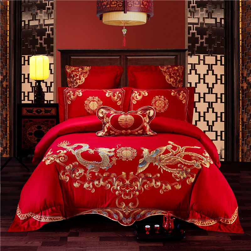 Luxury 100 Cotton Traditional Chinese Wedding Bedding Set Embroidery Duvet Cover Bed Sheet Pillowcases Queen King