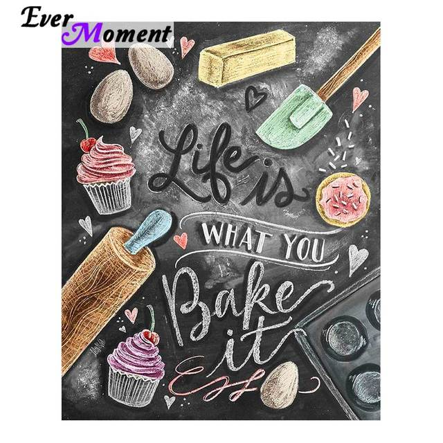 Life is What You Bake It Diamond Painting DIY Hobby Food Diamond Embroidery Picture Decoration for Restaurant Dining Room ASF667