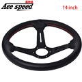 Ace speed-Hight quality For steering wheel leather 14 inch Metal framework Black Iron frame red line