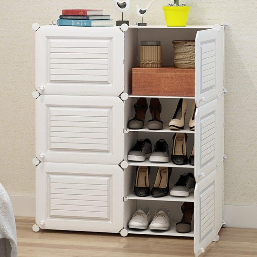 White Stripe Shoes Storage Shoe Rack Hallway Cabinet Organizer Holder Multi Layers Assemble Shoes Shelf Rack Home Furniture B505