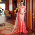 Vestido longo de festa Fushia Sexy Sirena Vestido de Noche Largo Con Capa de Bling de Las Lentejuelas Sin Espalda Kaftan Marroquí abiye gece elbis