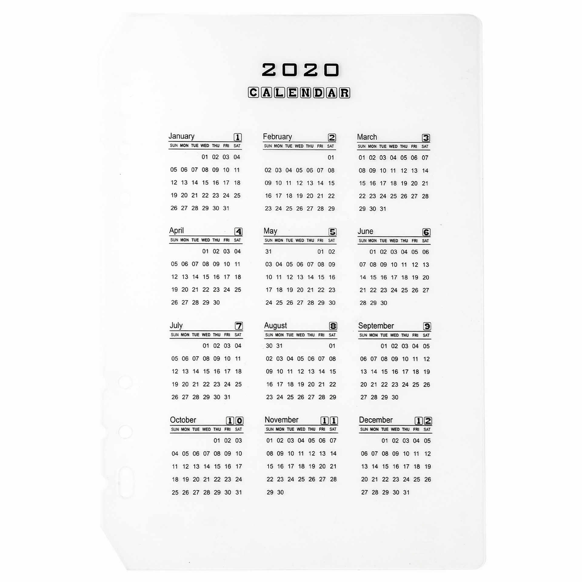 2020 Calendar PP Divider A5 A6 Loose Leaf Notebook Planner Index Sheet Binder Category Planner Filofax Inner Clip