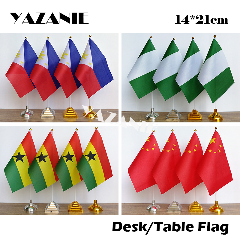 Pack Of 3 Ghana Ghanaian Desktop Table Centrepiece Flag Flags With Gold Bases Ideal For Party Conferences Office Display
