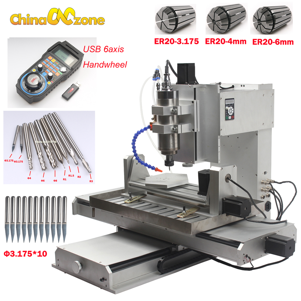 US $3112 5 25% OFF Newest 5 axis cnc router machine 6040 2 2KW water  cooling system CNC milling carving engraving machine CNC factory directly  sell-in