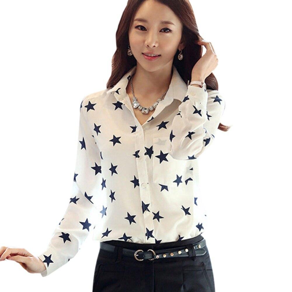 Summer Women Casual Shirt Star Button Down Collar Long