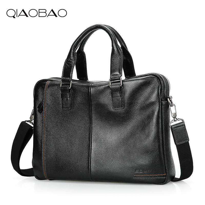 QIAOBAO 2018 Business Genuine Leather Men Briefcase Cowhide Men's Messenger Bags 14 Laptop Business Bag Luxury Lawyer Handbag new genuine leather coffee men briefcase 14 inch laptop business bag cowhide men s messenger bags luxury lawyer handbags lb9006
