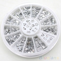 5 PCS Transparent Diamante Rhinestone Crystal Nail Art Decal Tips Glitters Stickers