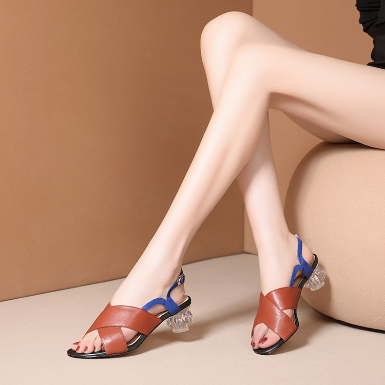 Genuine Leather high Heels Women Strange Style Heel Open Toe Shoes Date Shoes
