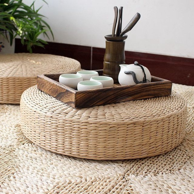 Round Zafu Chair Cushion 40cm Round Pouf Tatami Cushion Floor Cushions  Natural Straw Meditation Mat Yoga