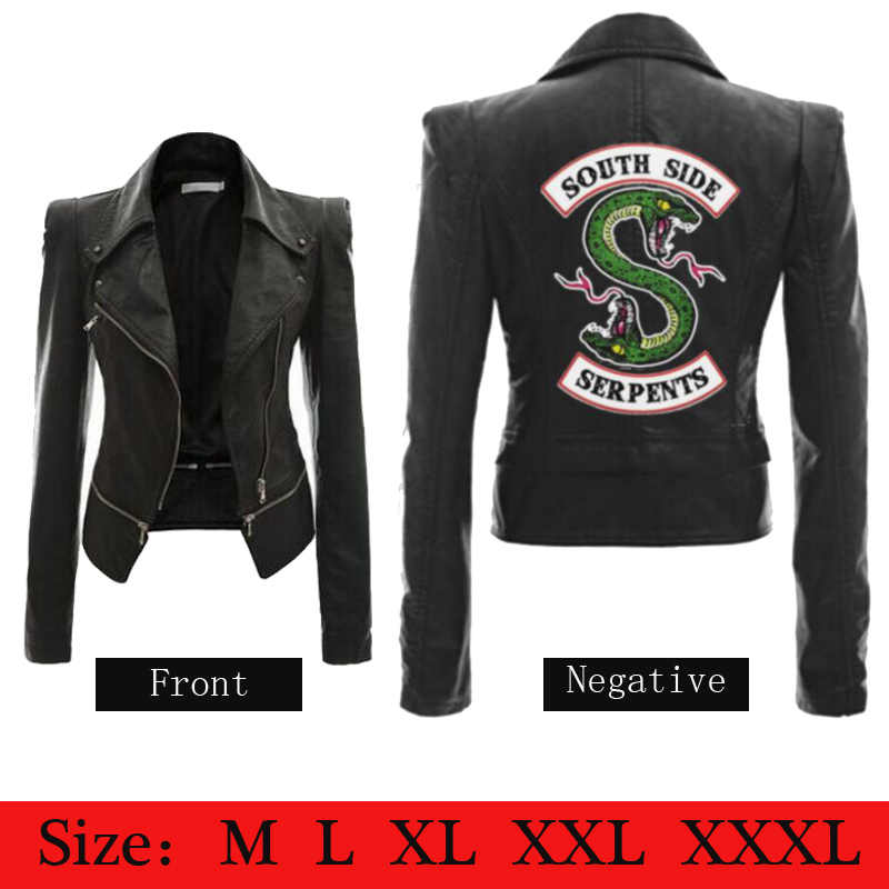 Woman Riverdale Southside Serpents Jacket black Brown PU Leather Women s Jacket Riverdale Streetwear Leather Brand