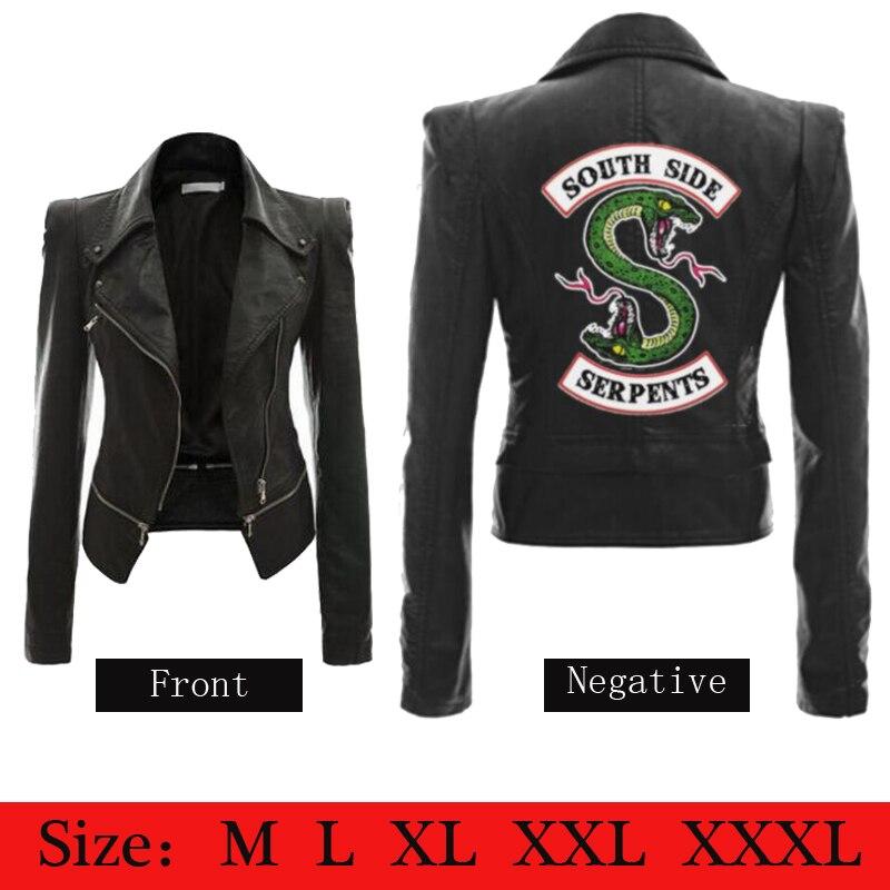 plus récent 537d5 ff668 € 30.73 15% de réduction|Femme Riverdale Southside Serpents Veste noir cuir  synthétique marron Femmes Veste de Riverdale Streetwear En Cuir Marque ...