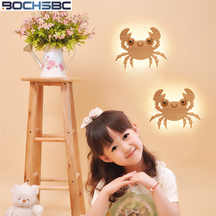 Designers Wall Lamp Led Creative Bedroom Wall Light Cartoon Lovely Wall Sconce Bedside Children Room Wood Crab Wall Lamps lovely plane wall lamp creative arts cartoon wall lamp the bedroom of children room lamps led night light on a bedside lamp