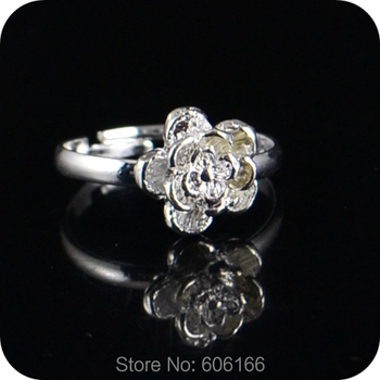 30x Silver Rose Flower Ring Enragement ring for Girl Women Party Wedding Fashion Jewelry image