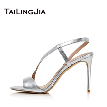 Open Toe Slip On Gold Women Shoes Woman Sandals Peep Toe Sexy Brand Party Wedding Shoes Summer High Heel Sandals Plus Size 2019 men fashionable slip on sandals with open toe