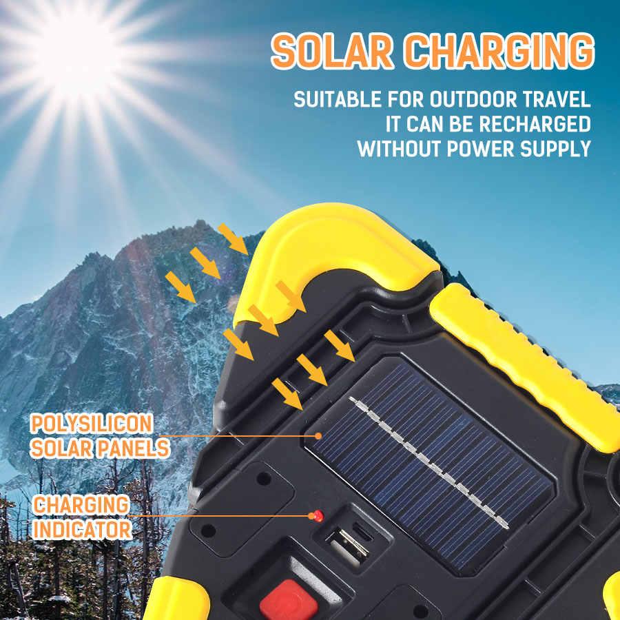 Luz de inundación Solar para trabajo al aire libre COB Luz de inundación linterna LED Solar portátil 20 W lámpara de advertencia al aire libre banco de energía Camping luz