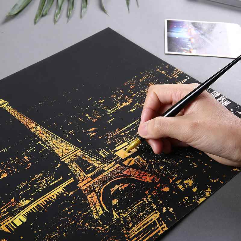 Bright City DIY Drawing Picture Wall Painting Scratch Card Golden Night  View Paint Arts Paper Creative Gifts D10