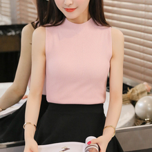 The Korean version of the new spring and summer half silk knitted vest a slim slim sleeveless blouse shirt sling
