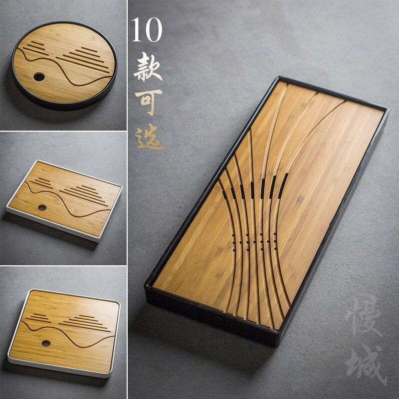 Japanese Bamboo Tea Tray Home Kung Fu Tea Tray Plastic Bottom Storage Water Type Tea Table Tea Accessories Free Shipping
