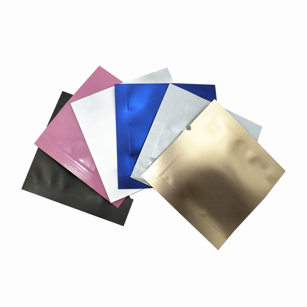 200Pcs/lot Mini Colorful Open Top Pure Aluminum Foil Packaging Bag Heat Seal Flat Mylar Foil Candy Small Crafts Storage Pouches