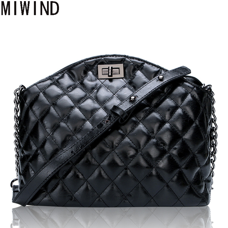 Women Genuine Leather Messenger Bags famous Brand Designer Handbag Chain Shoulder Bag Plaid Women Crossbody Bag TBS1374