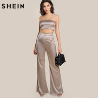SHEIN Champagne Strapless Satin Solid Bandeau Sexy Top And Matching Pants Set Elegant Women Two Piece